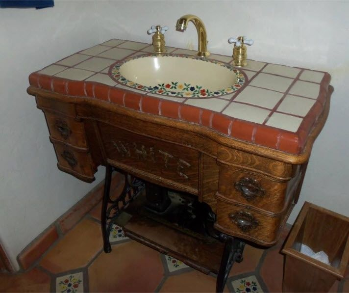 Repurposed vintage old sewing machine sink | Repurposed Sewing ...