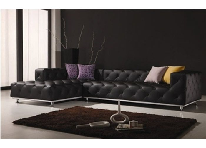 contemporary italian off white leather living room set  Black Tufted Leather Sectional Sofa Modern Living