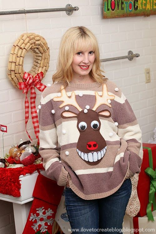 17 brilliant ugly christmas sweaters to buy or diy creepy ugliest ways to make your own ugly holiday sweater add blinking nose and deer behind on back with blinking tail solutioingenieria Choice Image