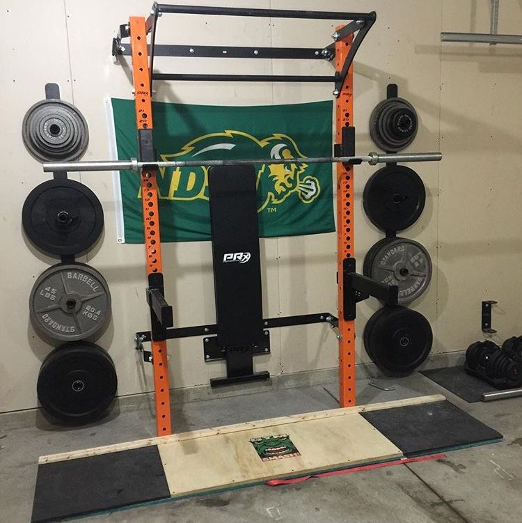Homemade deadlift platform tops off any home gym setup