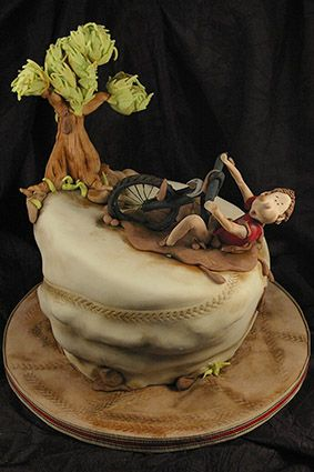 A avid mountain bikers cake Sculpted Cakes Pinterest Cake