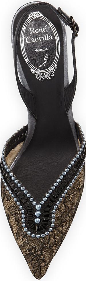 Rene Caovilla Embellished Lace Halter Pump, Black