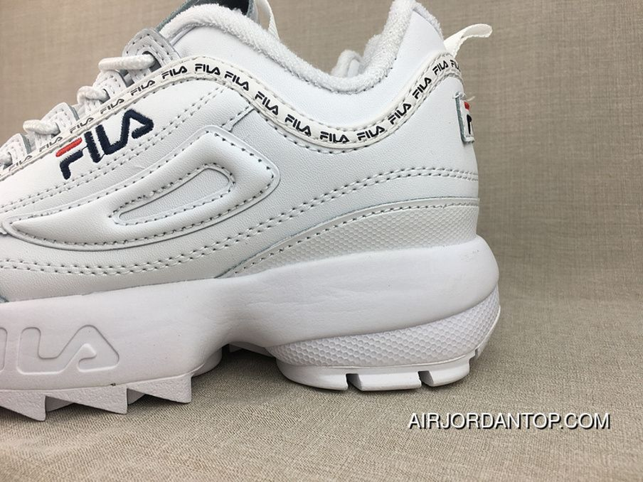 db40741bdbff34 FILA Disruptor II 2 Indented Height Increasing Slender Legs All-match  Jogging Shoes White Navy Blue Red FW0165-122 Size Discount