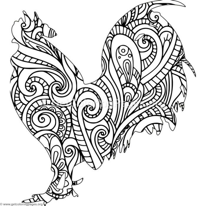 Free to Download Zentangle Rooster Coloring Pages #coloring ...