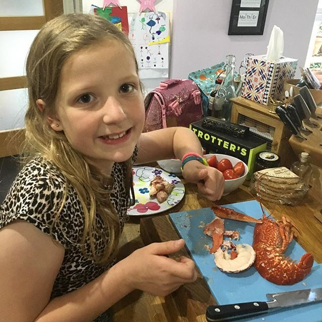 My 9 yr old daughter is more than a bit excited with her #dinner tonight a whole #lobster to herself from #rileyslobstershack in #crail #fife #lovelifefood #instafood #foodblogger #ukfoodblogger #scotbloggers
