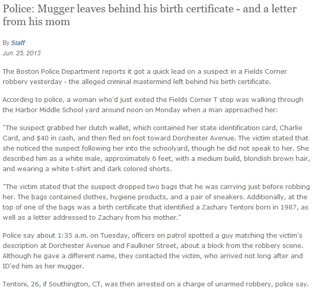 Robber drops Birth Certificate at scene.. and a letter from his ...