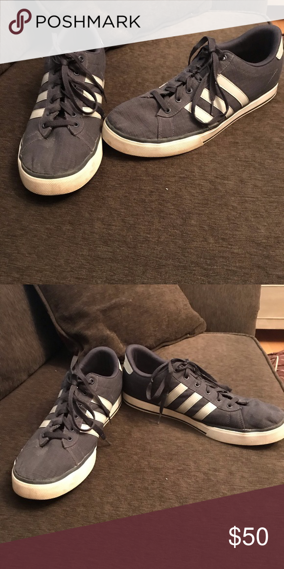 Adidas Shoes Navy Blue adidas shoes with gray stripes. Gently used ...