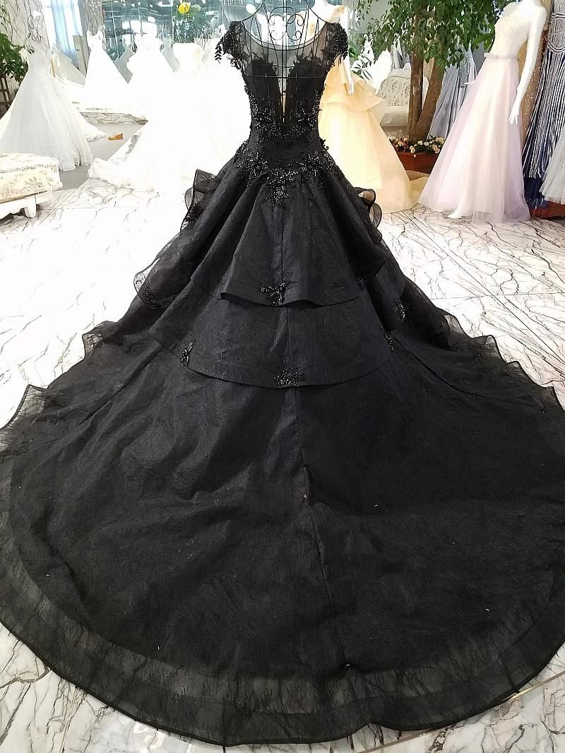 2018 New Arrival Luxury Ball Gown Black Wedding Dresses Gothic