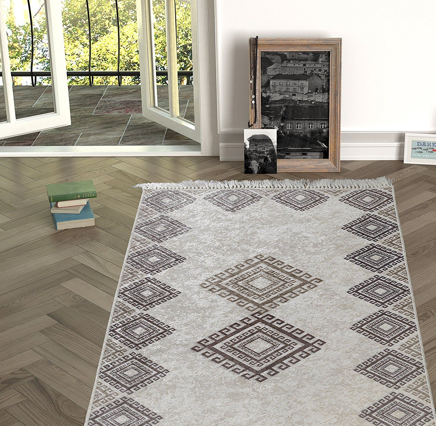 Area Rug With Non Skid Rubber Backing Decorative Modern Carpet For Living Dining Children S Rooms Bedroom Anti Slip Throw Runner F