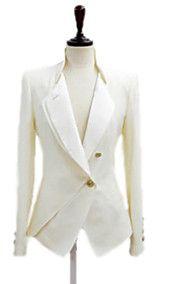OuRuoFu Vrouwen Koreaanse Elegant Slim Fit Stand Collar Uitloper (White)