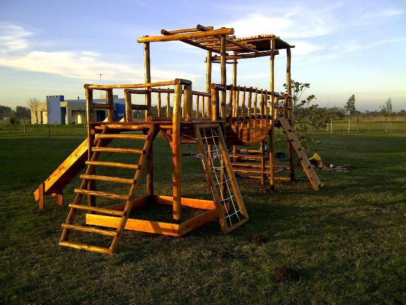 Mangrullo Juegos Para Chicos En Madera Rustica Tobogan Tipo