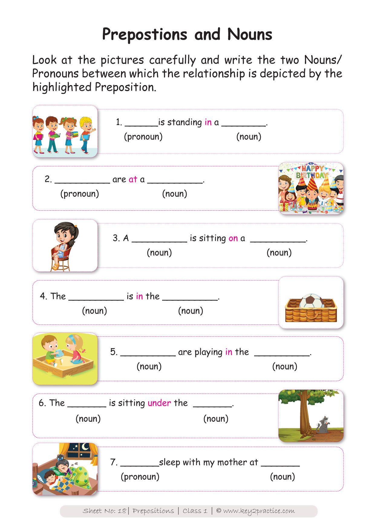 Preposition Worksheets For Grade 1 English Worksheets