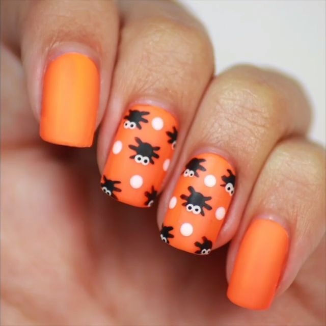 Easy Spider Nails A Super Easy Nail Tutorial On How To Do Spooky Spider Nails Floralnailart Nailartdar Classy Nail Designs Nails For Kids Halloween Nails