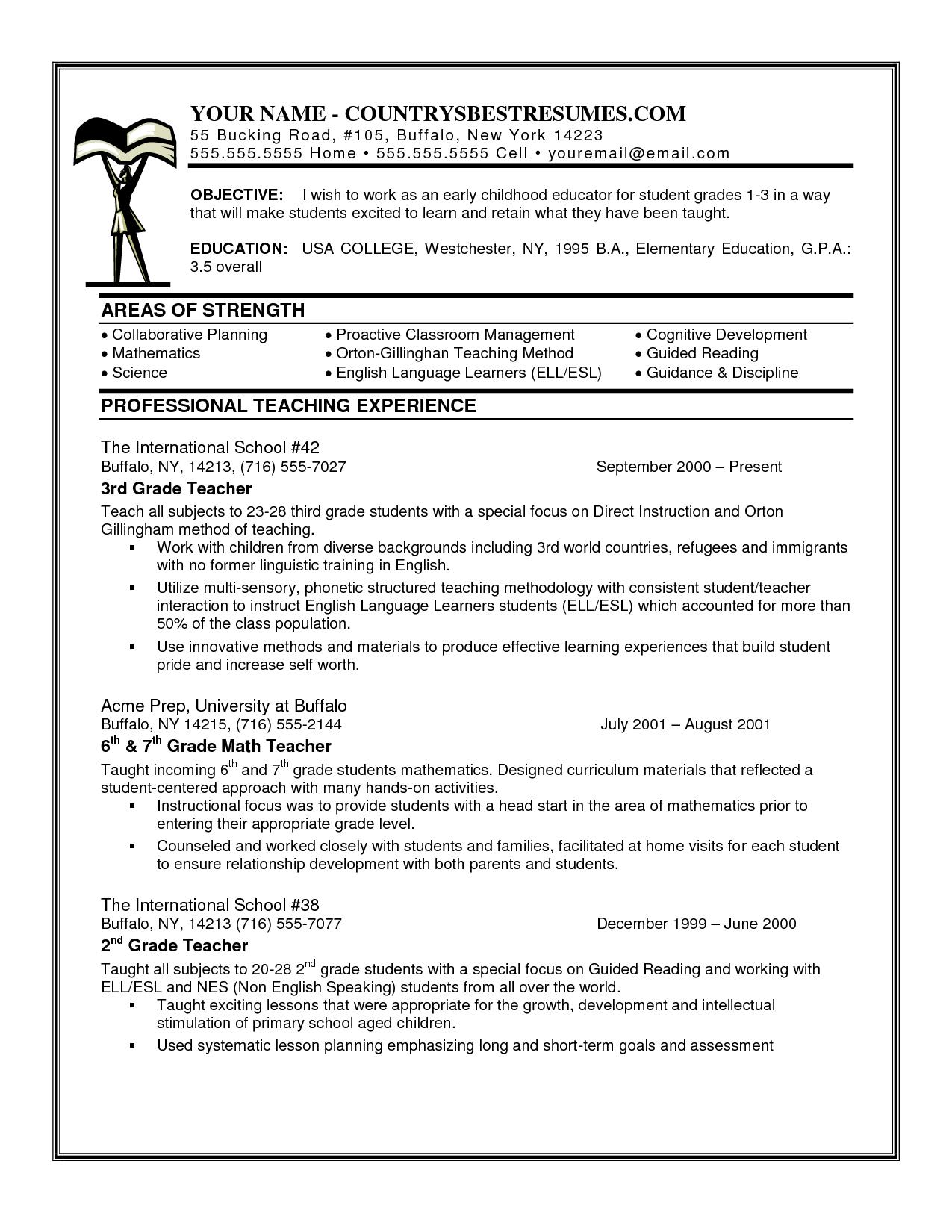 resumetipsnoexperience Teacher resume examples, Teacher