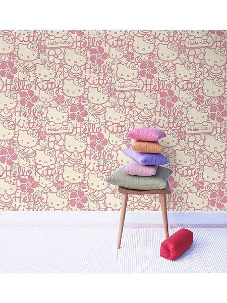 Pink Hello Kitty Flock Wallpaper