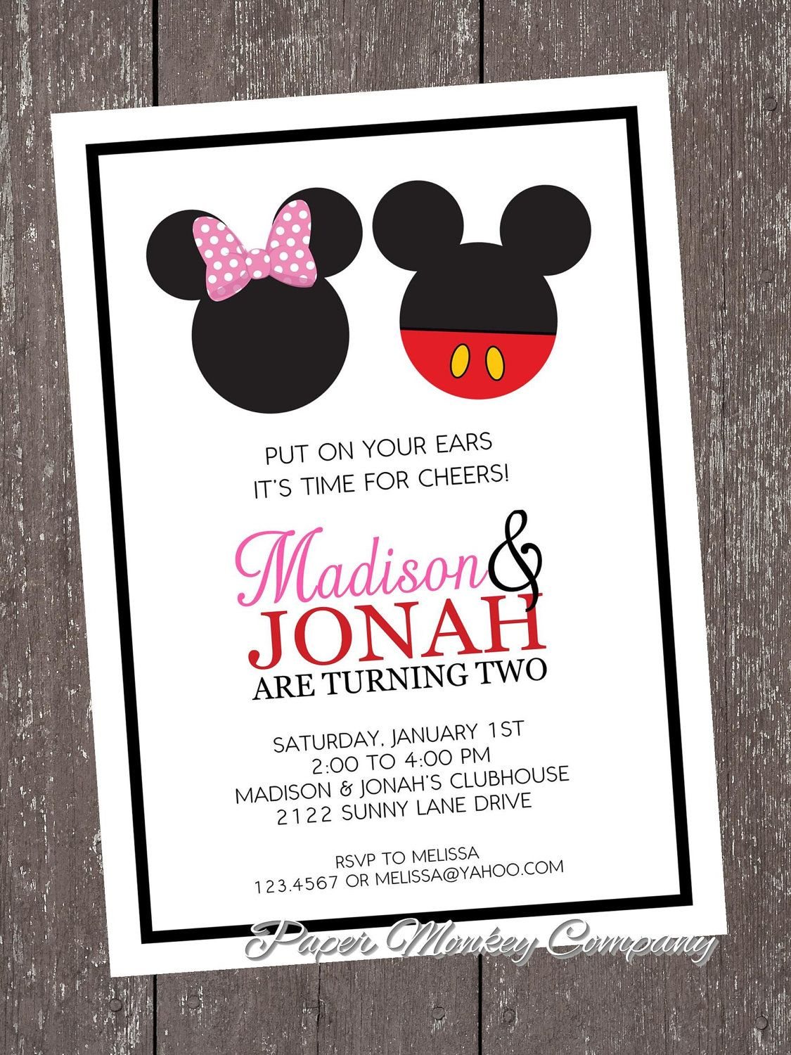 Mickey and Minnie Mouse Birthday Invitation by PaperMonkeyCompany ...