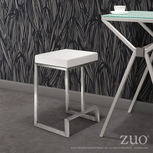 300049 Darwen Counter Stool White Made From 100 Stainless Steel And A Plush Leatherette Seat The Darwen White Counter Stools Counter Chairs Counter Stools
