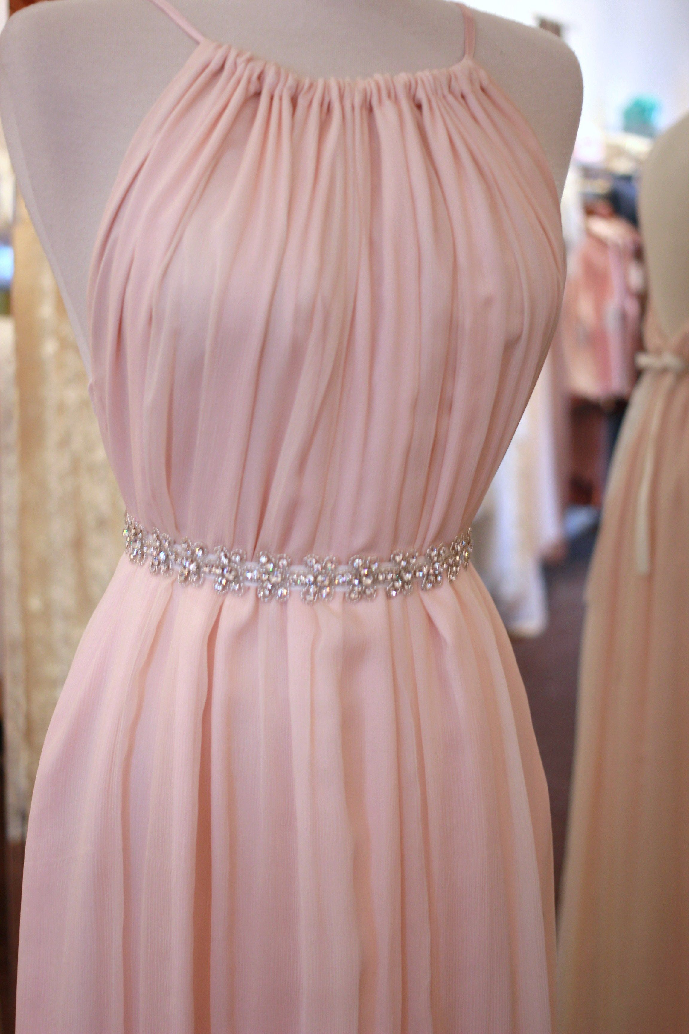 Pink chiffon bridal Penelope, with sparkle sash. Too good to be true ...