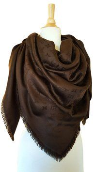 Louis Vuitton LOUIS VUITTON Shawl Scarf Chocolate Brown Monogram LV ... 96a3c9f55db