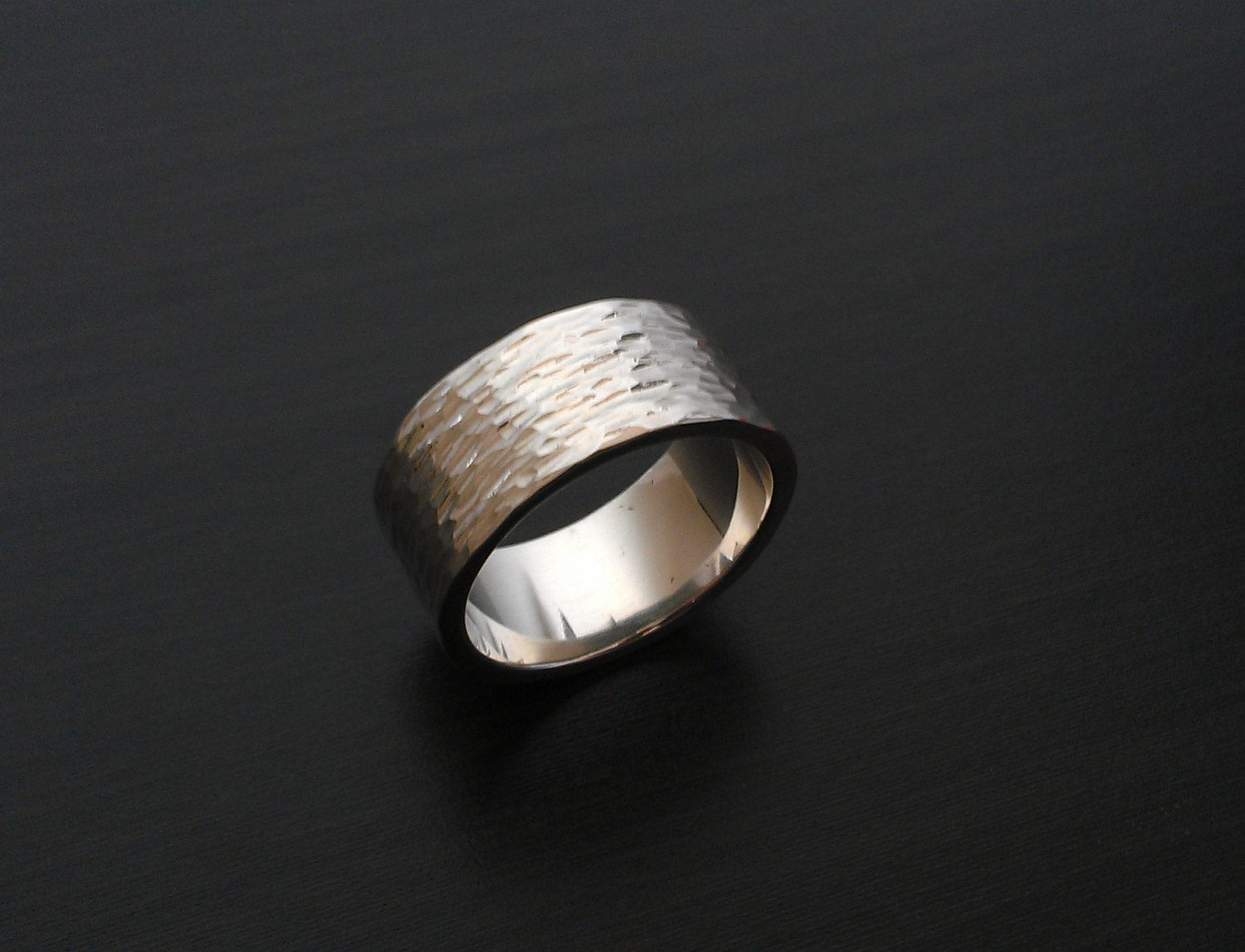 Extra Wide Silver Ring With Hammered Texture Recycled Wedding Band Cigar Men S Rough