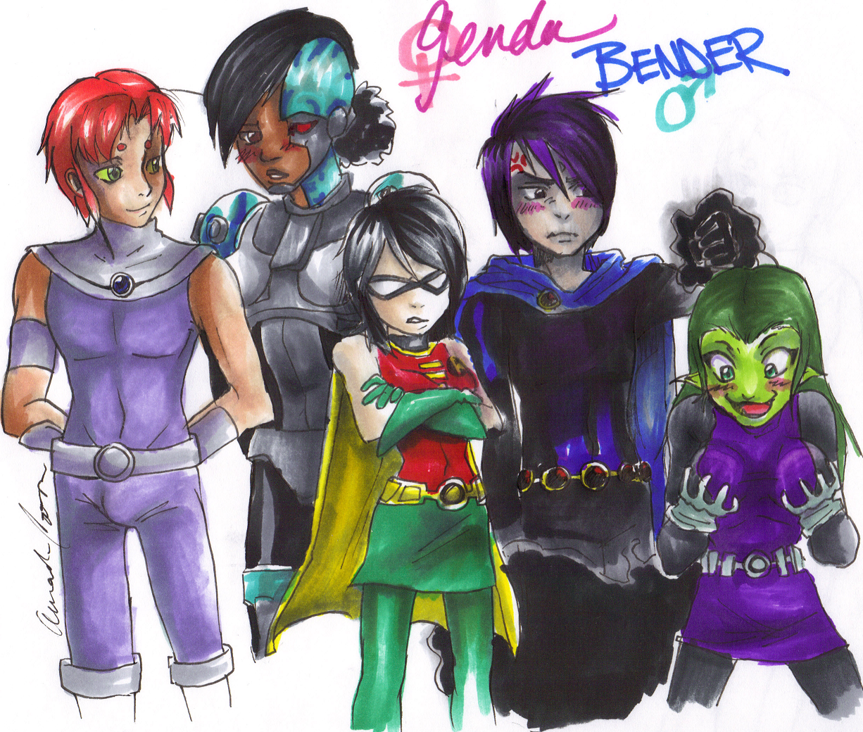Teen Titans Gender Bender  Genderbent Titans C  Anime -1073