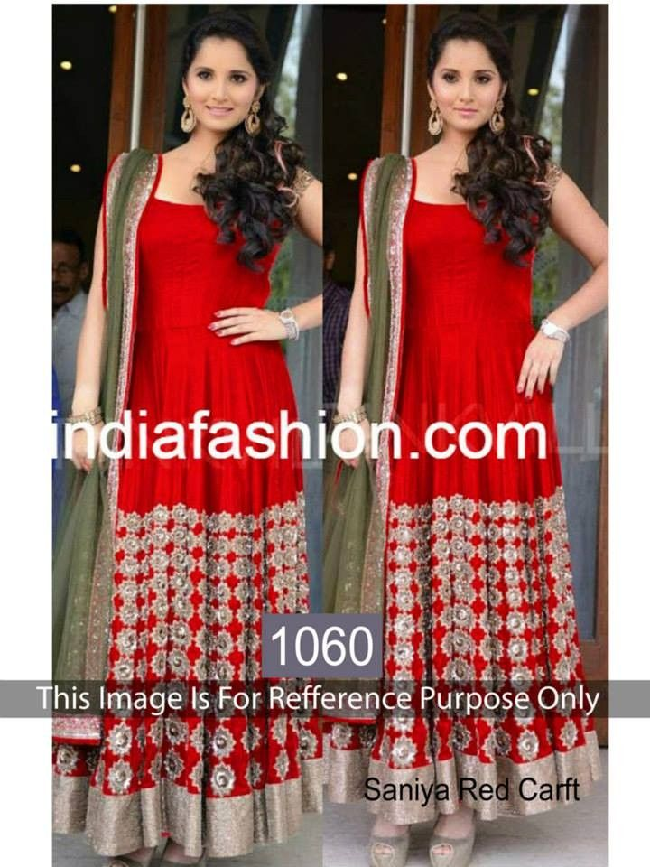 8d4d580058c6 buy saree online Sania Mirza Red Georgette Bollywood Inspired Suit Buy  Saree…