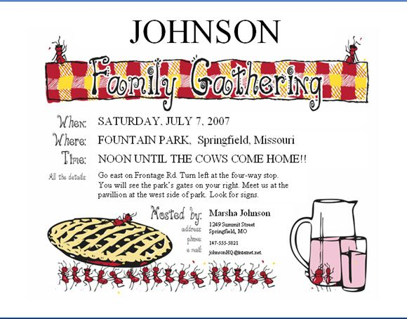 Family Reunion Letters Invitations | Family Reunion Party ...