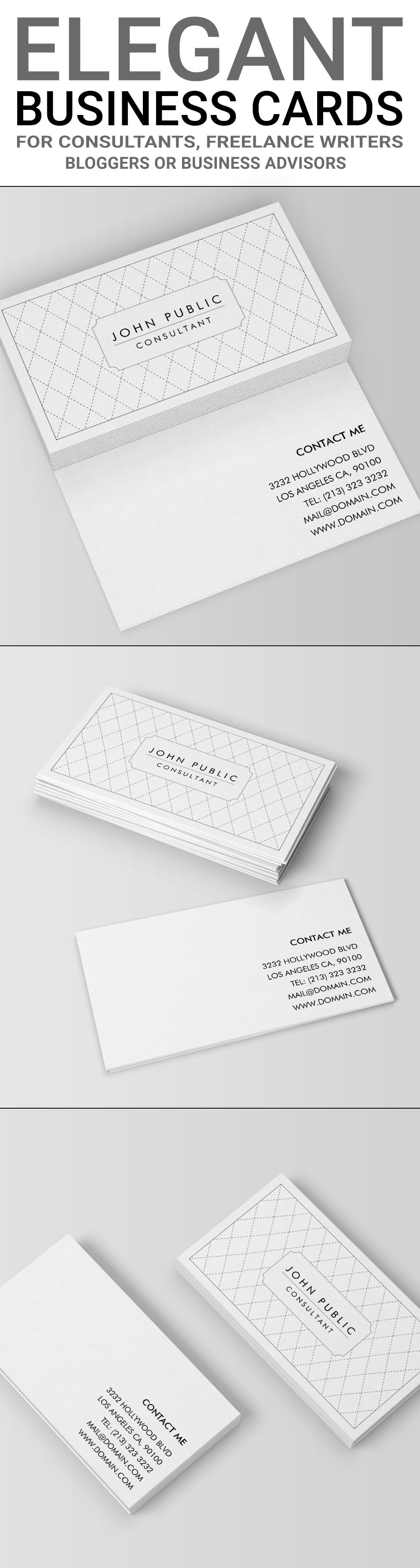 Elegant black and white pattern business card standard business elegant black and white business cards it shows crossing lines of thin dark stitches forming a diamond pattern the black and white design is two sided reheart Image collections
