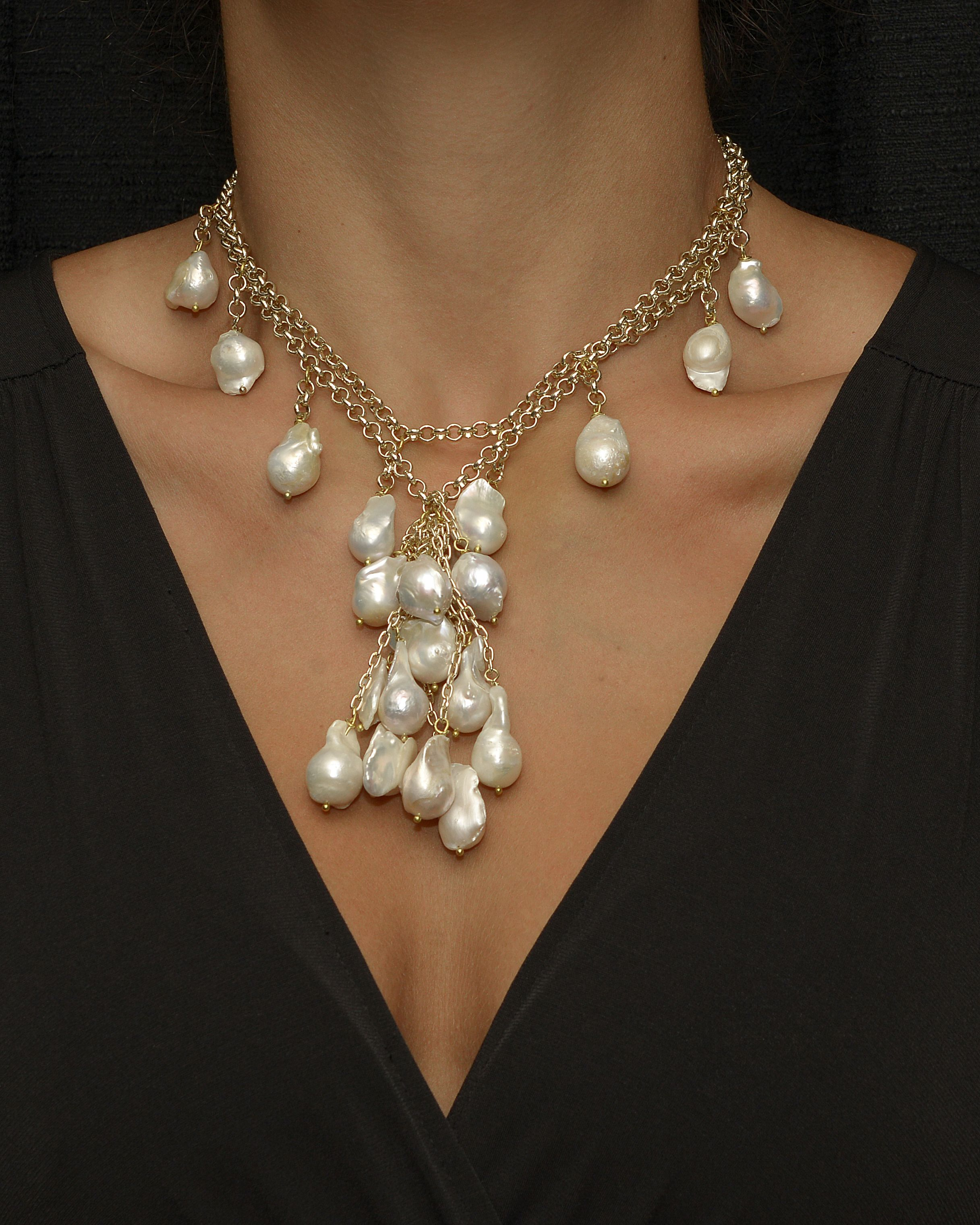 New Fashion Black White Faux Pearl Necklace Rope Necklace Jewelry Bib Statement
