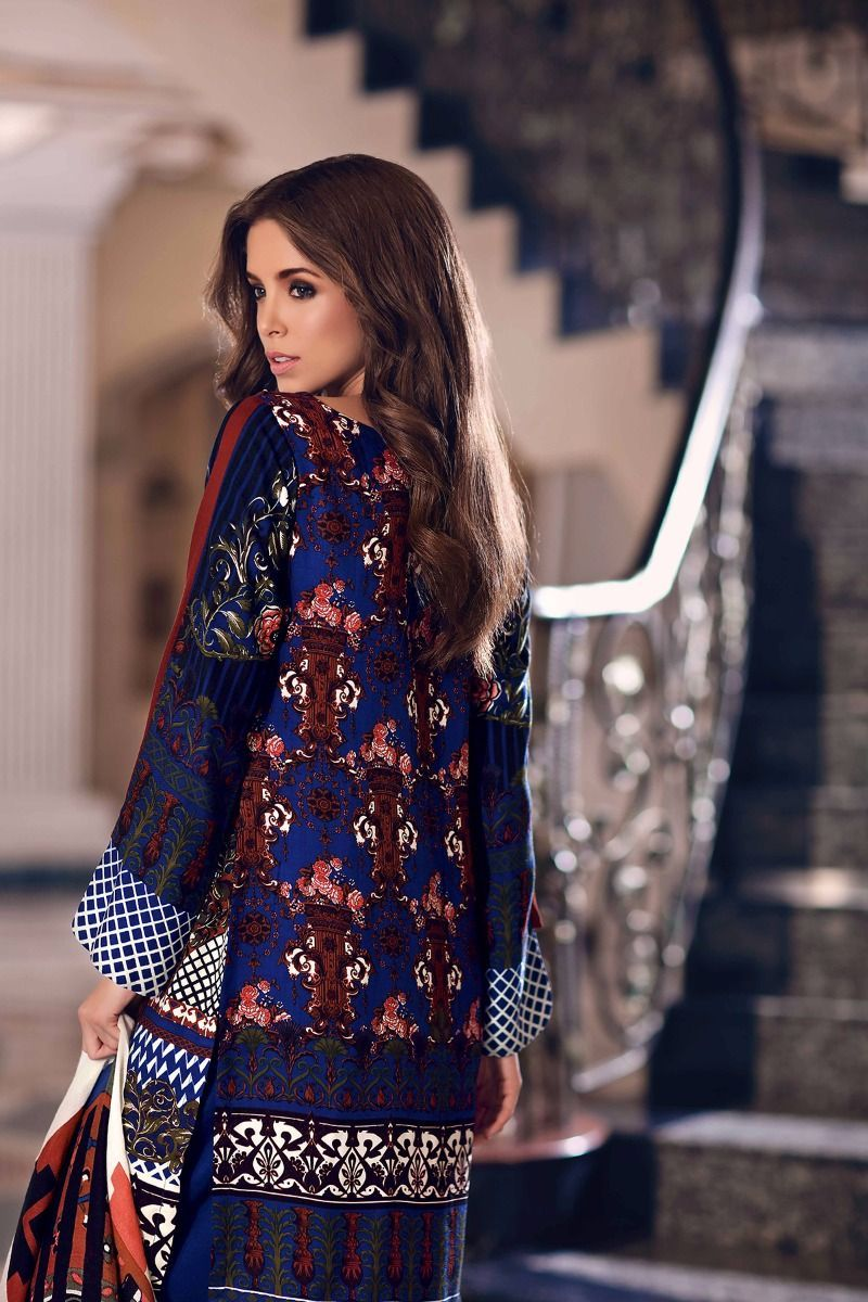 Unstitched piece woolen pakistani designer wear dress on sale for