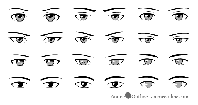Https Www Animeoutline Com Different Style Male Anime Eyes Drawing Guide Anime Eye Drawing How To Draw Anime Eyes Manga Eyes