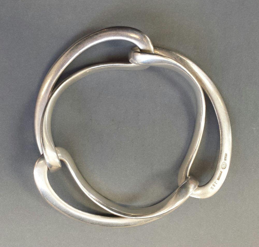 Vintage georg jensen sterling silver infinity bracelet design