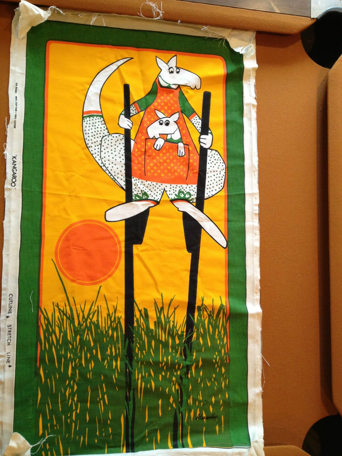 Alexander Fabric Stretched Panel Wall Tapestry Kangaroo Mid Century ...