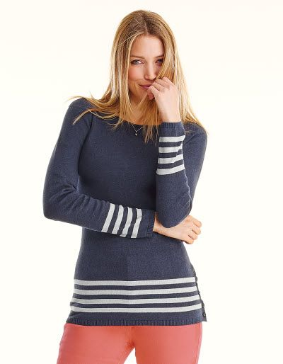 Button Stripe Jumper - You loved the coral and now it's back in Navy! The button detail across the stripes adds an extra touch to this best seller from last season.