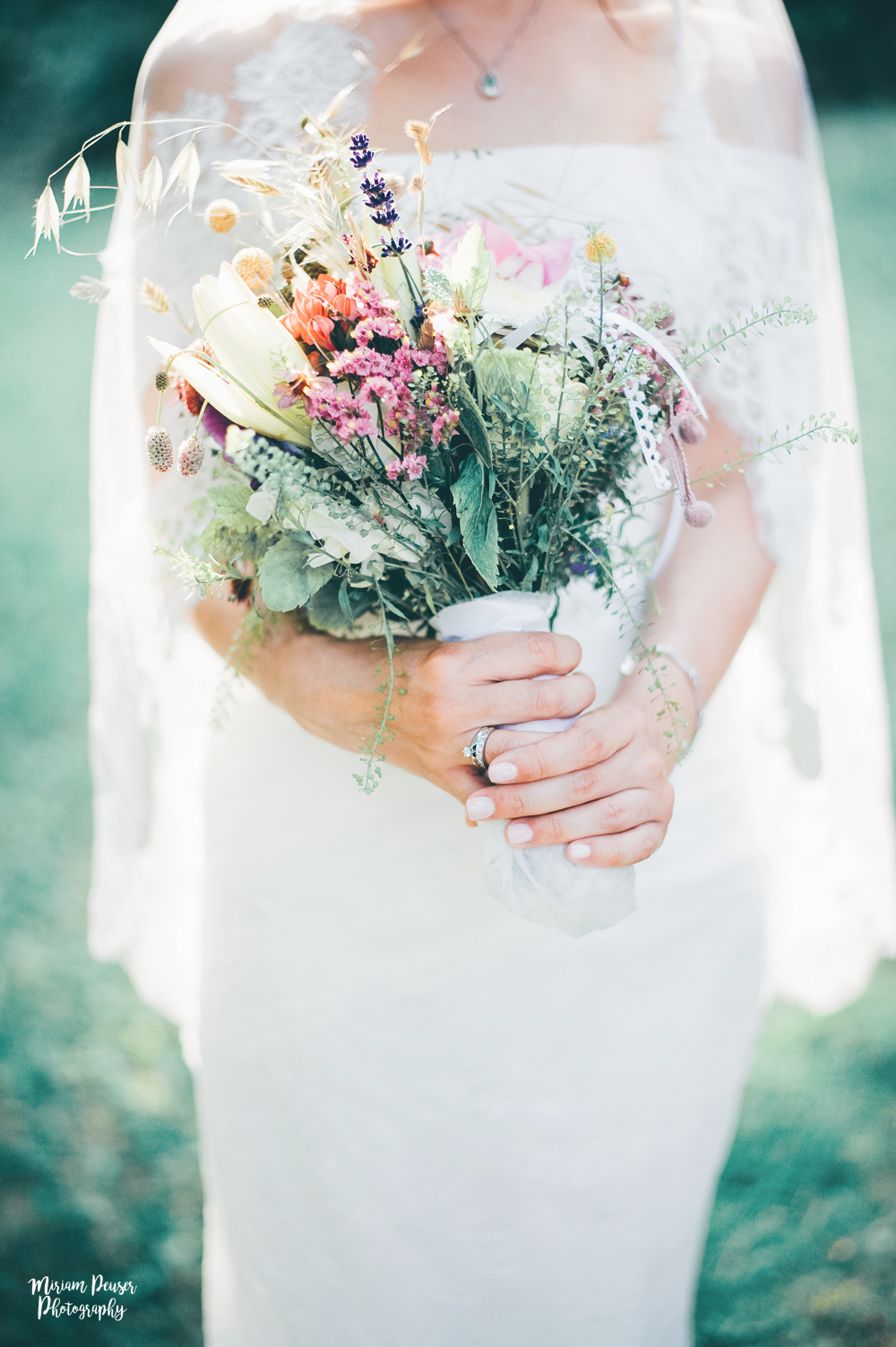 Messy and big wildflower bridal bouqet - the bigger, the better!  by Miriam Peuser Photography