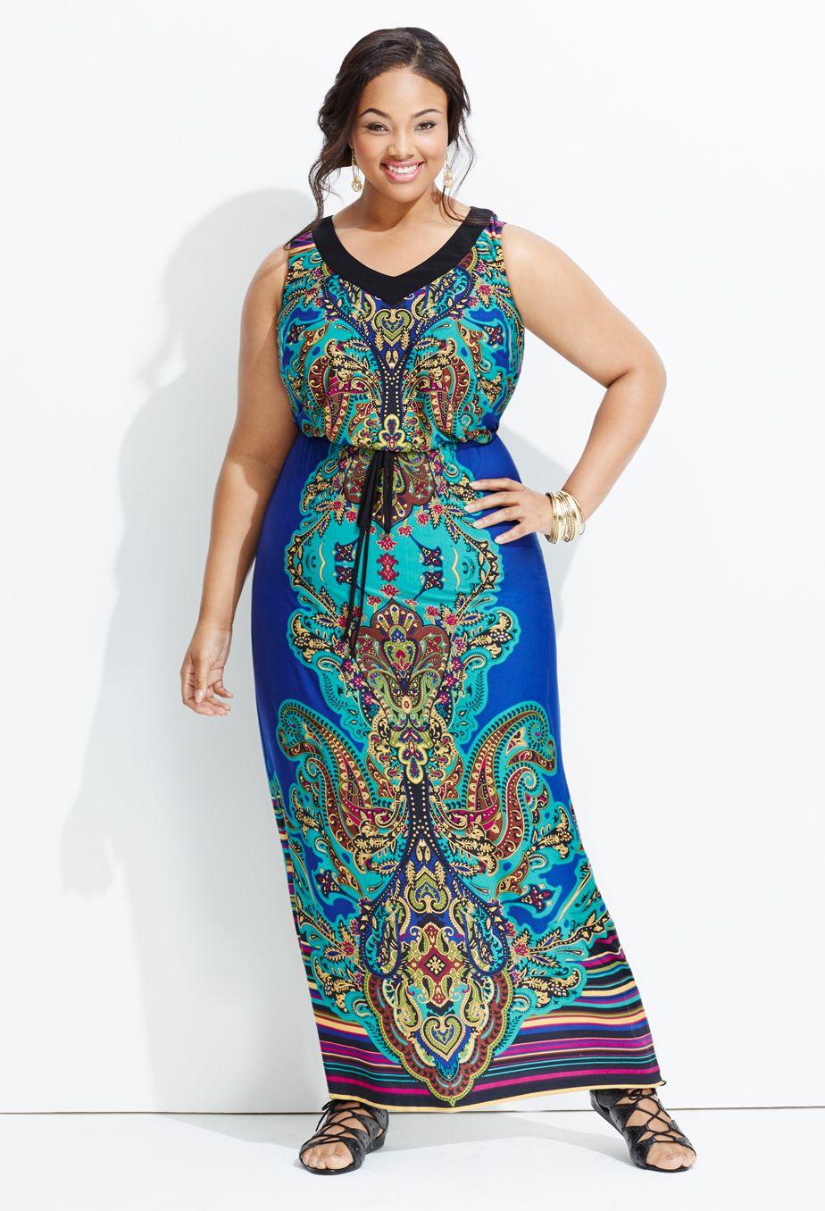 Plus Size Blue Paisley Maxi Dress Plus Size Maxi Dresses Avenue Plus Size Outfits Plus Size Fashion Paisley Maxi Dress [ 1356 x 924 Pixel ]