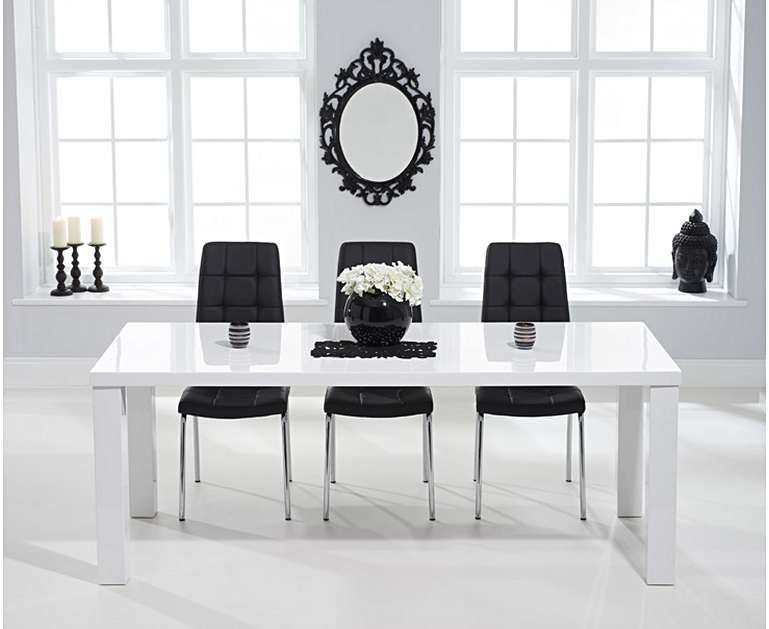Atlanta 180cm White High Gloss Dining Table With Calgary Chairs