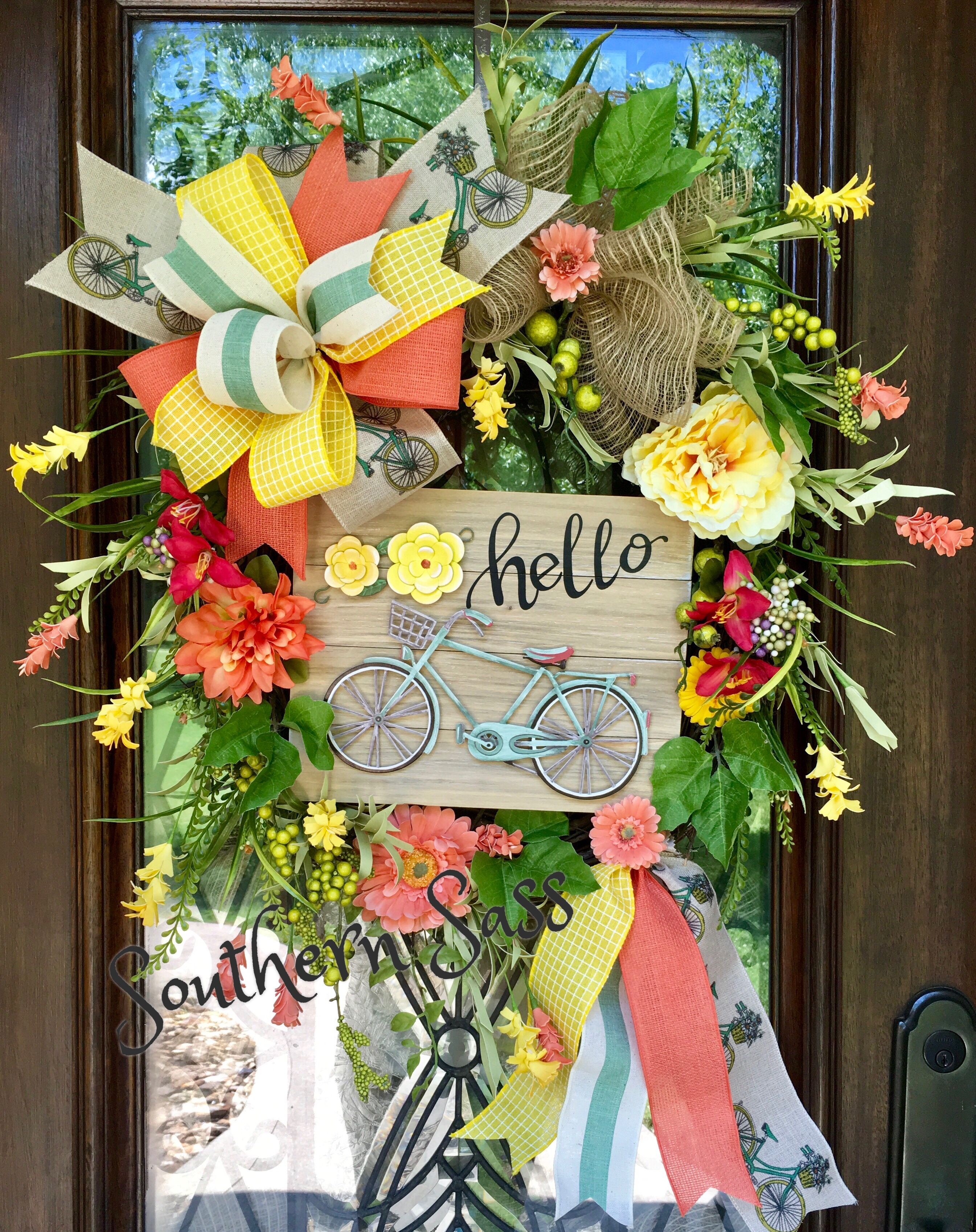 Bicycle summer wreath summer wreath diy wreath floral