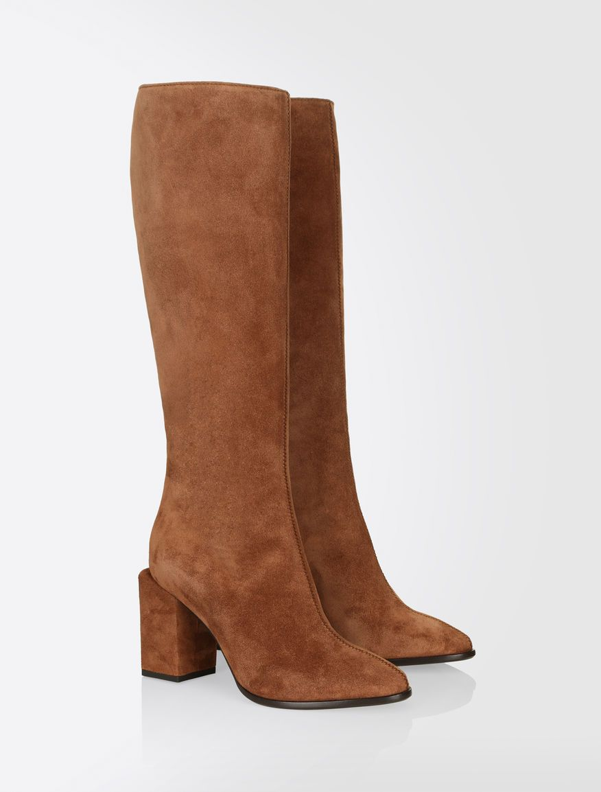 max mara pacche black suede leather fitted boots inspiration