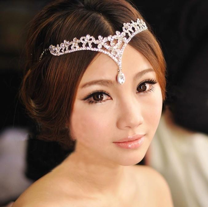 Excellent Cheap Korean Style Women Austria Crystal V Shape Water Drop Crown Short Hairstyles Gunalazisus