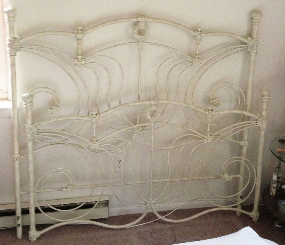 antique Victorian shabby chic iron queen bed