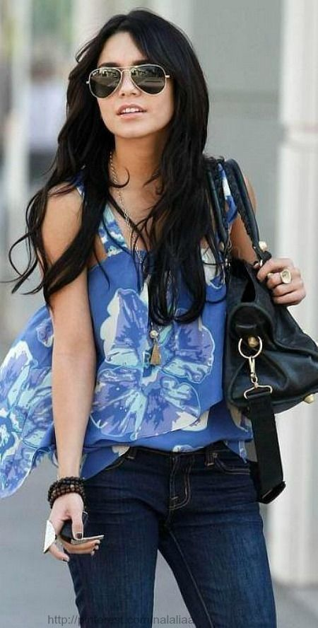 Blue Printed #Blouse  denim #Jeans from angelsstyle.tumbl...