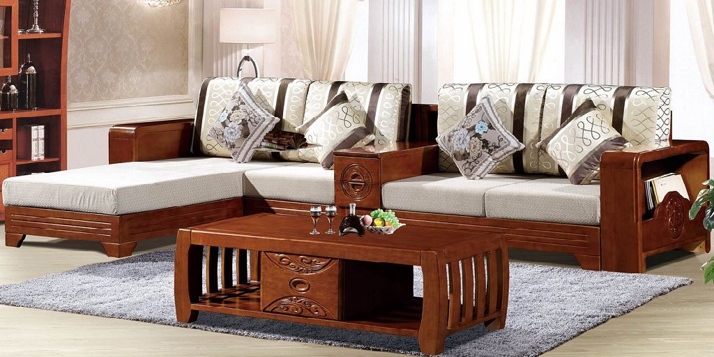 L Shaped Wooden Sofa Set Design L