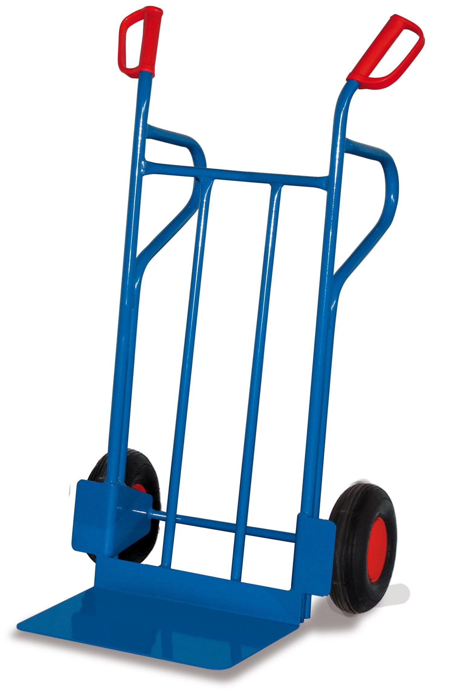 GTARDO.DE:  Stahlrohrkarre, Tragkraft 250 kg, Maße 686 x 702 x 1185 mm, Schaufel 480 x 297 mm, Rad 260 x 85 mm, Höhe 1185 mm 100,00 €