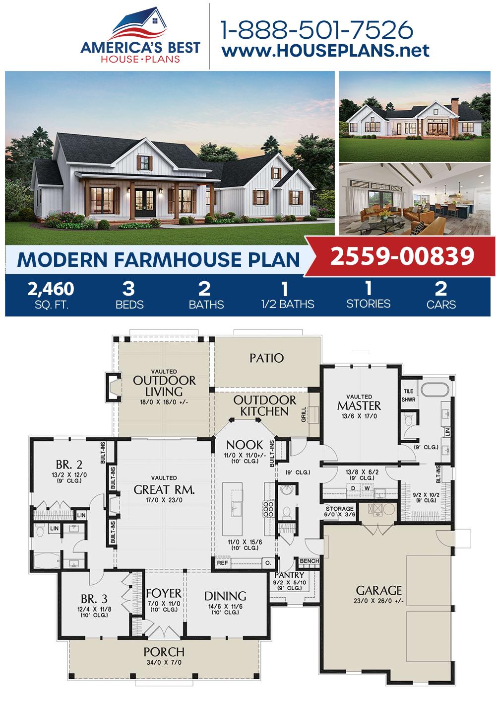 House Plan 2559 00839 Modern Farmhouse Plan 2 460 Square Feet 3 Bedrooms 2 5 Bathrooms Modern Farmhouse Plans Building Plans House Farmhouse Plans