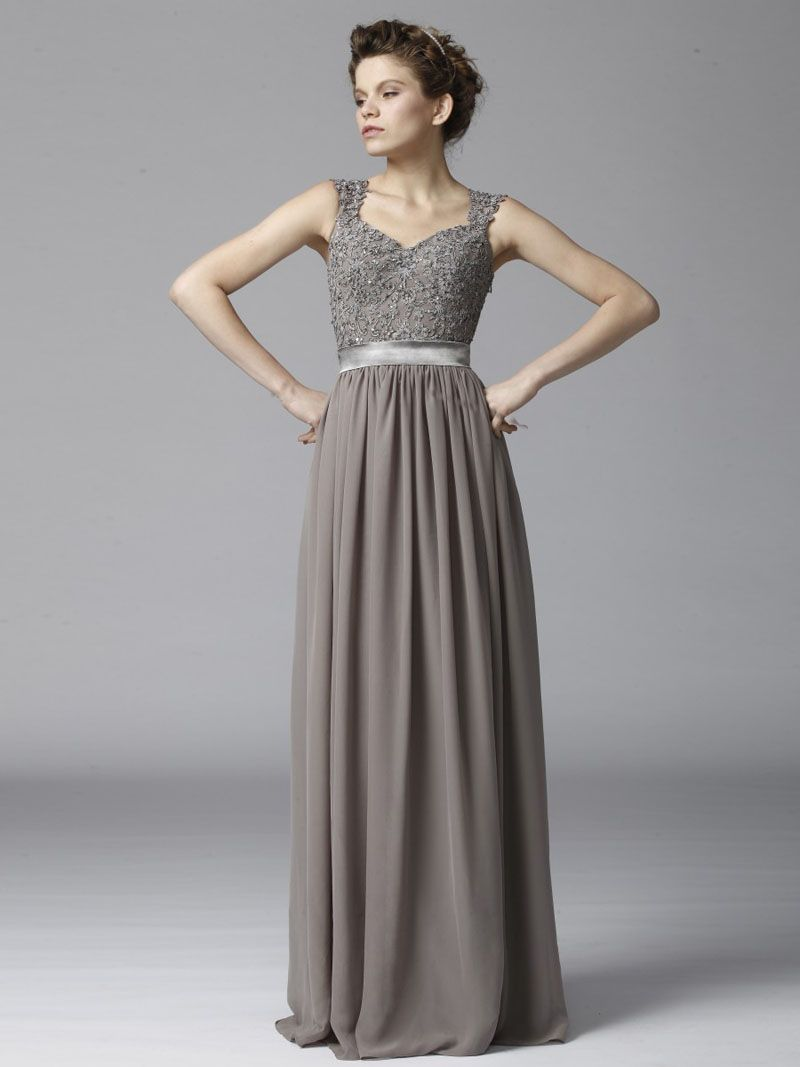 Dust grey long chiffon ball dress features sleeveless lace bodice dust grey long chiffon ball dress features sleeveless lace bodice embroidered bodice offers chic v ombrellifo Image collections