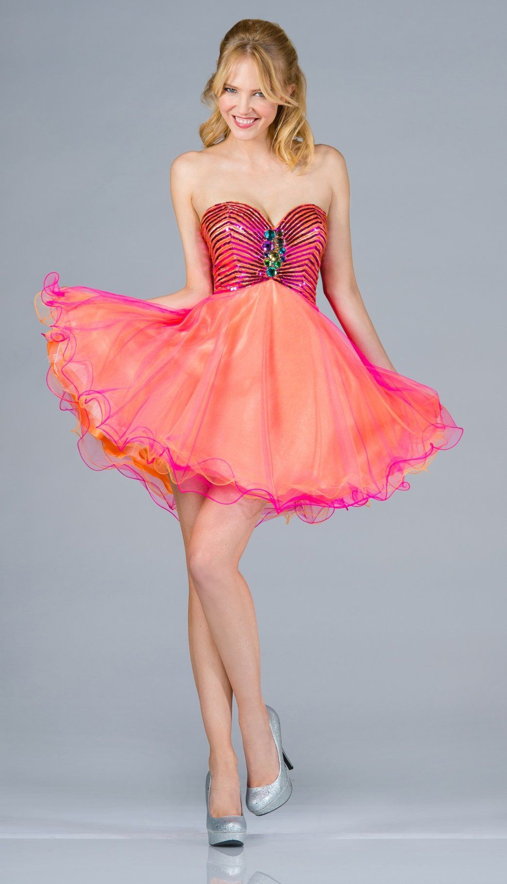 Two tone orange fuchsia short prom dress strapless sequin bodice