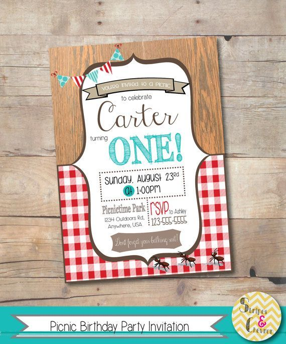 Picnic Party Invitation Picnic Birthday By Stripesandchevron