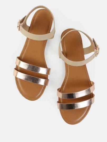5dbe40c22d7 Metallic Duo Skinny Strap Sandals ROSE GOLD Zapatillas Bajitas