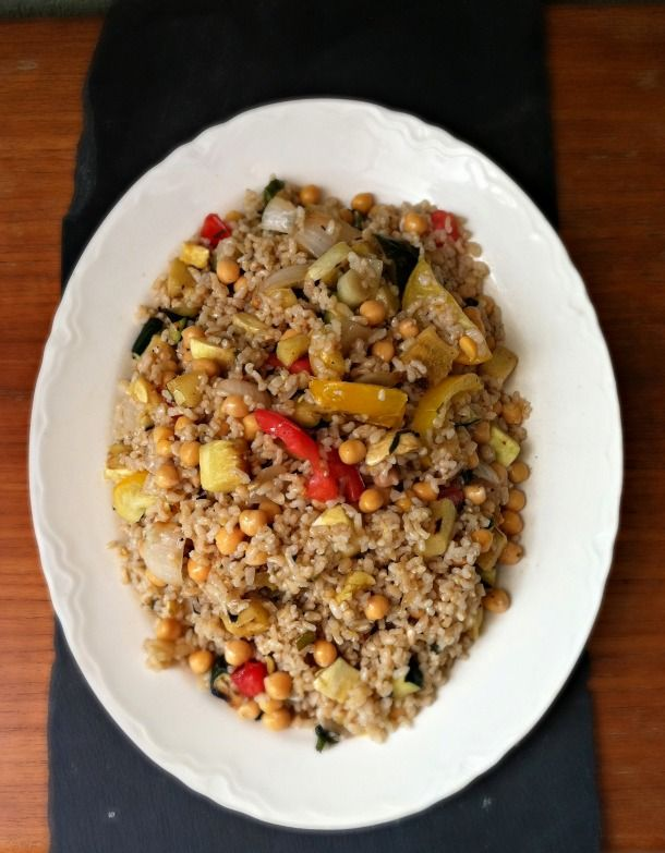 warm brown rice and grilled vegetable salad
